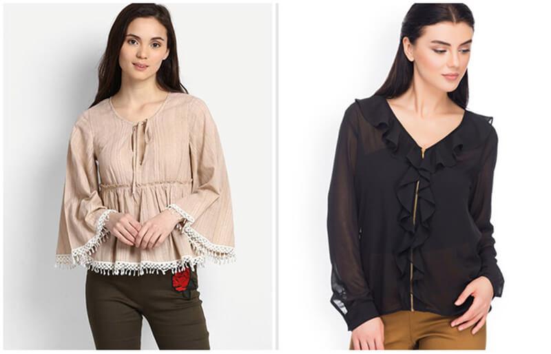Áo phối pom pom hoặc áo xếp ly bèo dọc đường cúc áo