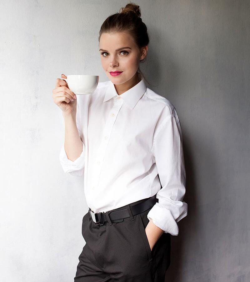 Bí quyết diện áo sơ mi trắng button up-down đẹp