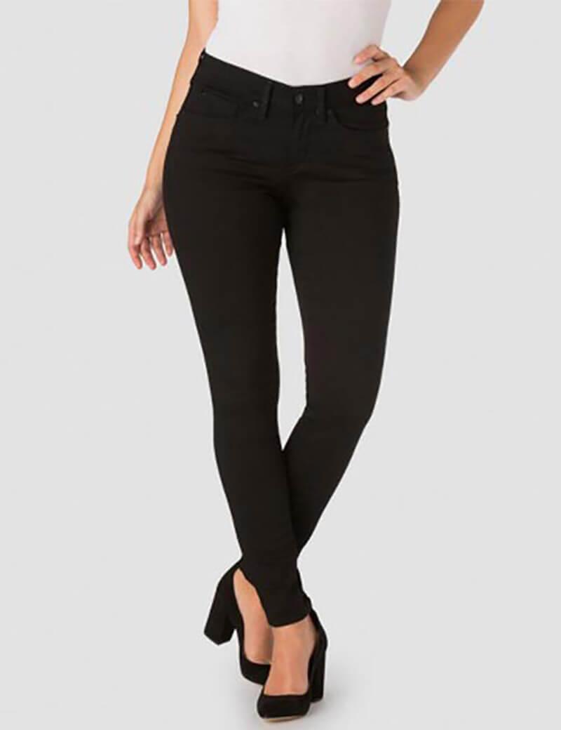 Quần jean đen cạp cao