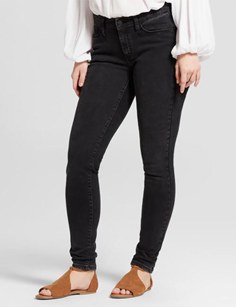 Quần jean đen cạp vừa dành cho phụ nữ có đùi hơi to