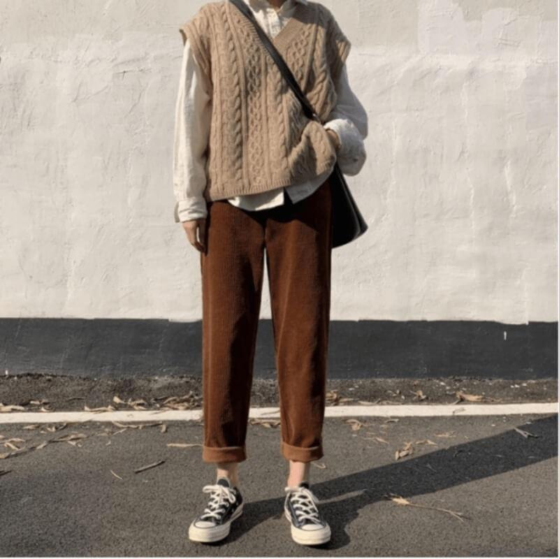 Áo gile khoác ngoài kết hợp quần baggy cạp chun