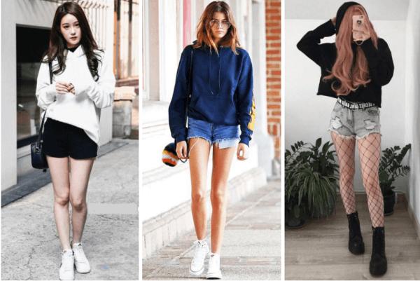 Áo hoodie + quần short