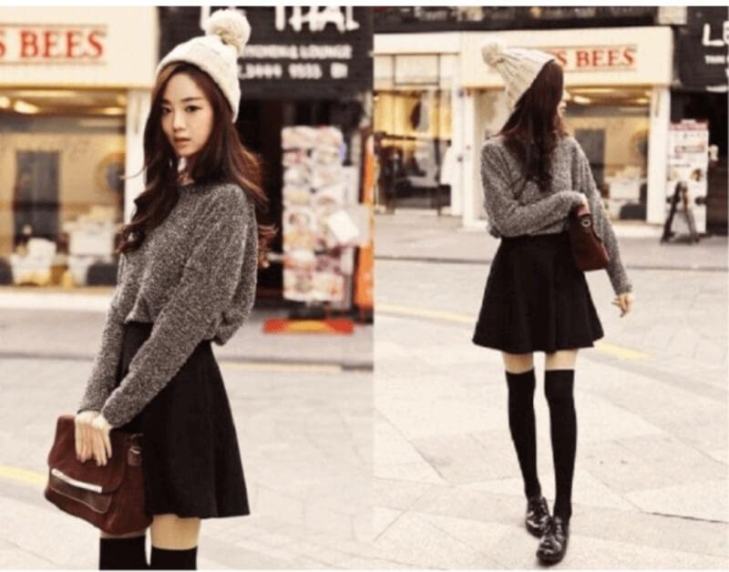 Chuẩn style Hàn Quốc khi phối áo len với chân váy xòe đen