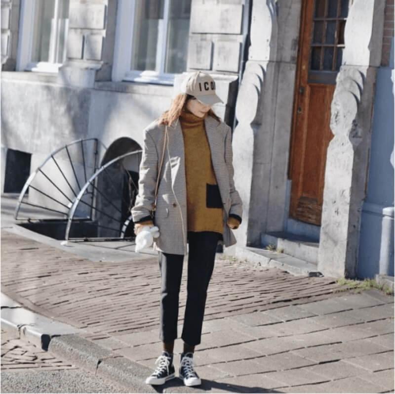 Áo len kết hợp quần baggy cạp chun