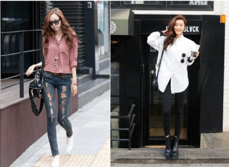 Áo sơ mi form dài phối với quần jeans