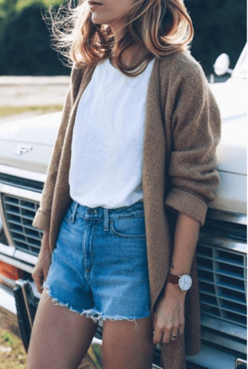 Áo thun + quần short + áo khoác len dáng dài