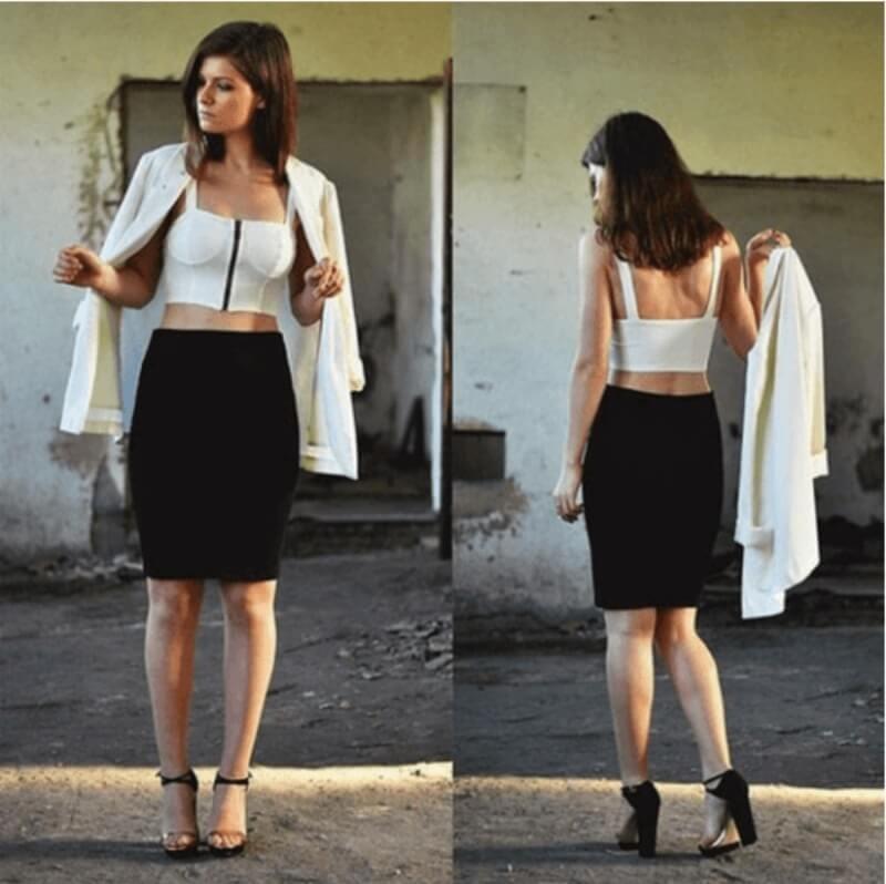 Chân váy bút chì đen + áo croptop