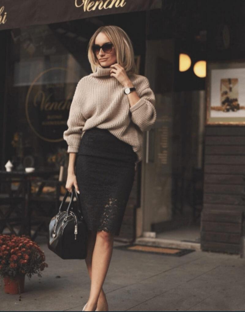 Chân váy bút chì đen + áo len