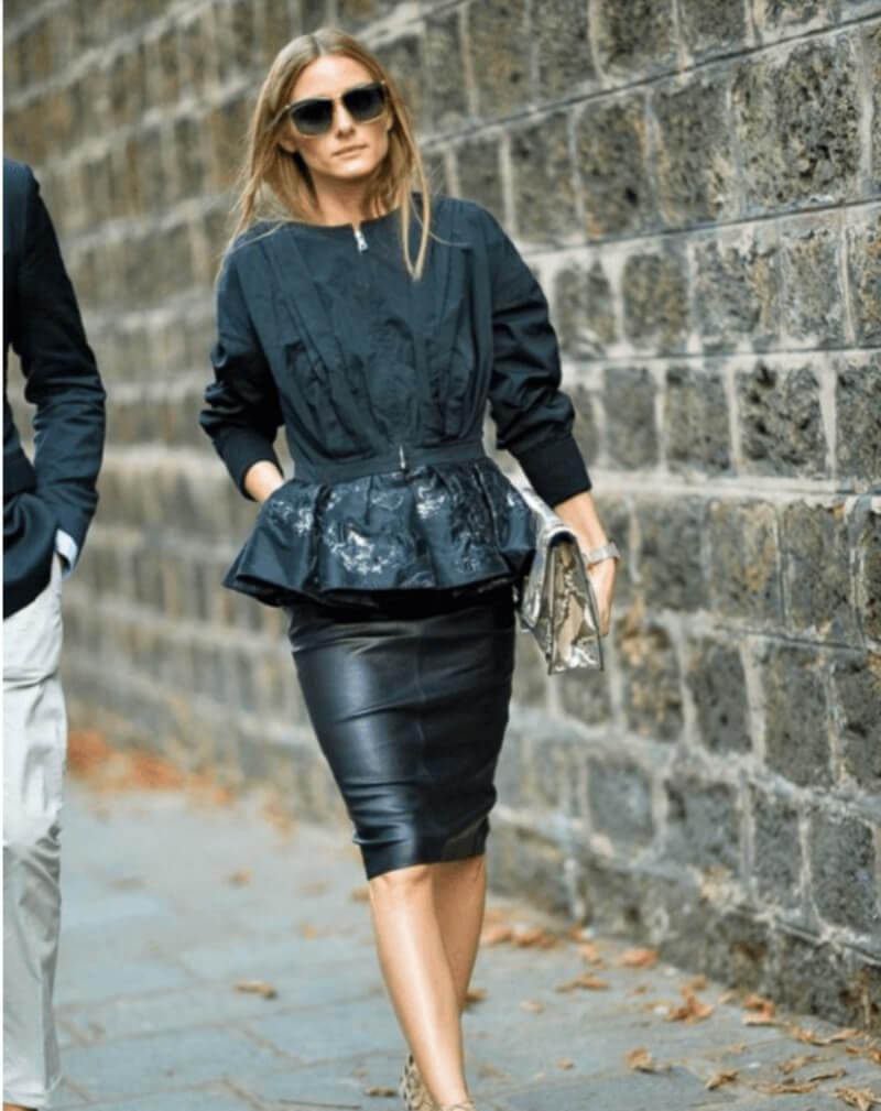 Chân váy bút chì đen + áo peplum