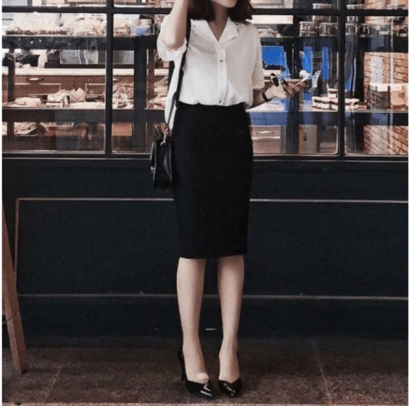 Chân váy bút chì đen + áo sơ mi
