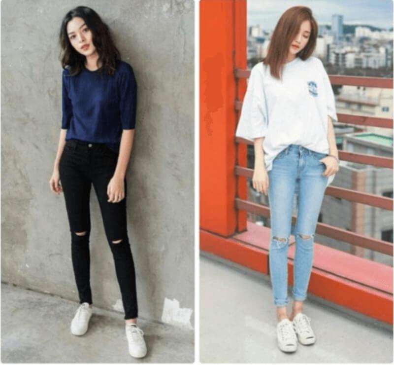 Đơn giản mà đẹp với áo thun quần jeans dài và giày thể thao