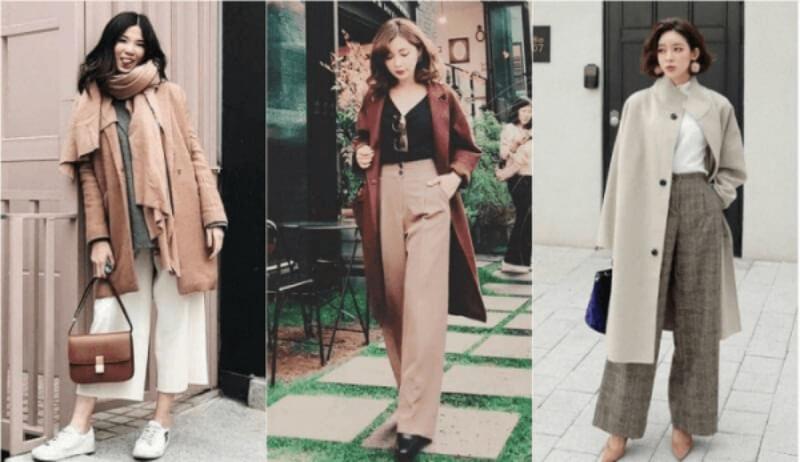 Thời trang sang chảnh với quần culottes và áo khoác dạ dài