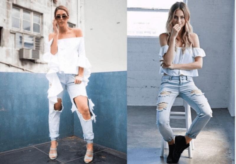 Quần jeans rách phối với áo rớt vai