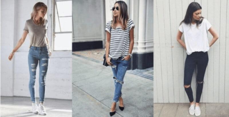 Quần jeans rách phối với áo thun