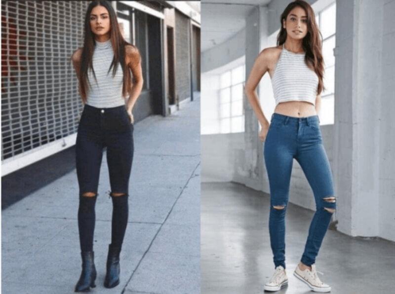 Quần jeans rách phối với áo yếm
