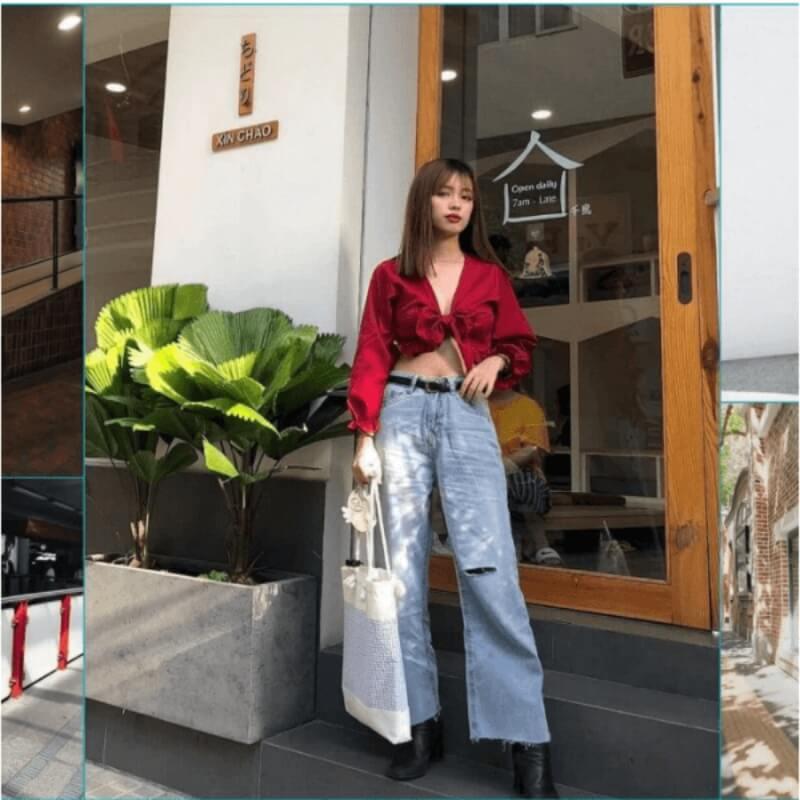 Sang chảnh và điệu đà với áo croptop phối quần ống rộng