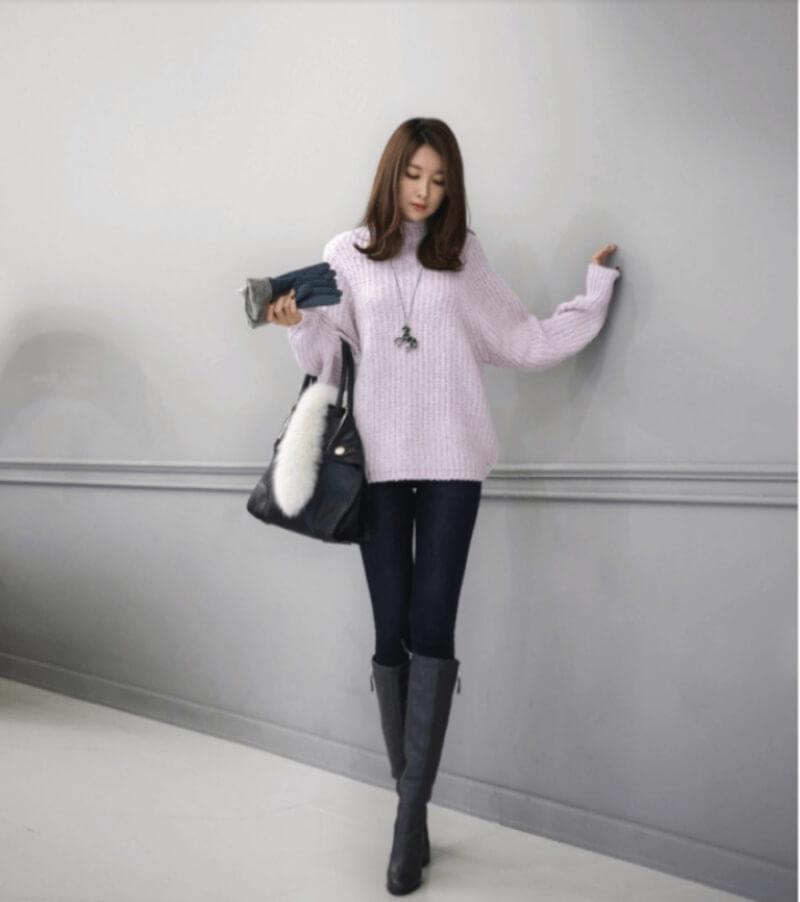 Áo len phối cùng quần skinny