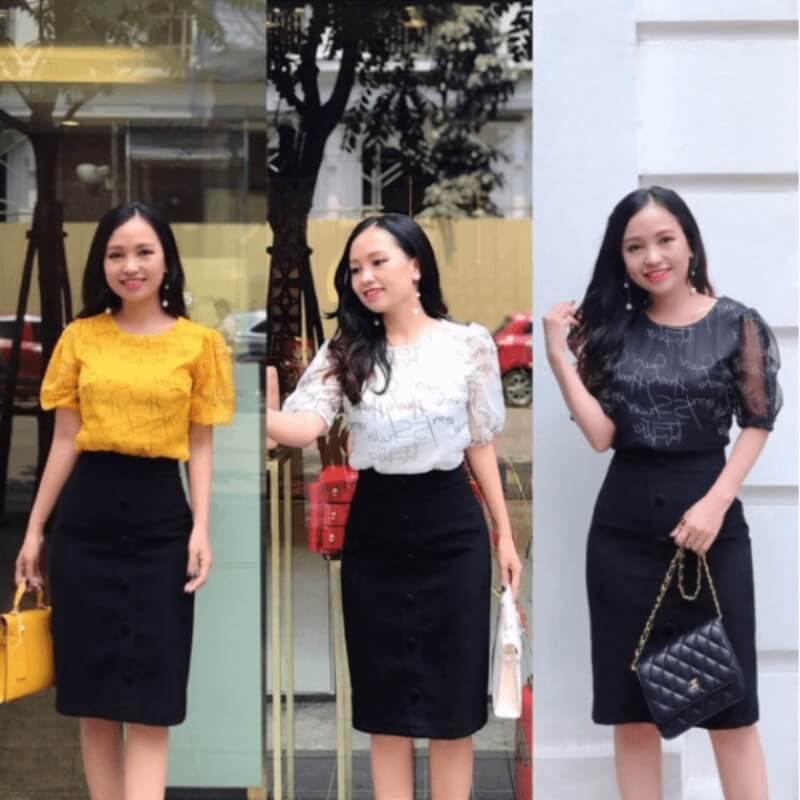 Chân váy ôm đen phối cùng áo voan họa tiết